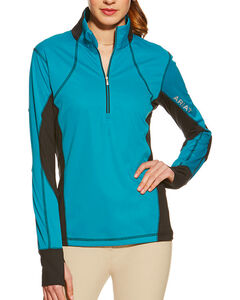 Ariat Women's Bryce Long Sleeve Tek Pullover, Blue, hi-res