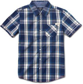 Silver Boys' Blue Short Sleeve Single Pocket Plaid Shirt , Blue, hi-res