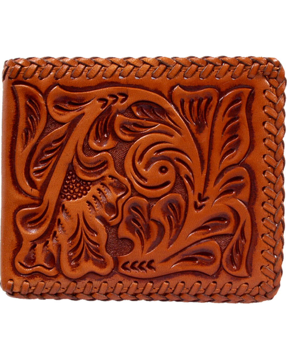 3D Hand Tooled Western Bi-Fold Wallet, Natural, hi-res