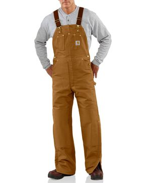 Carhartt Quilt Lined Duck Bib Overalls, Brown, hi-res