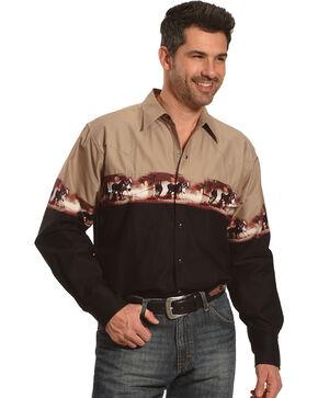 Ely Cattleman Men's Beige Horse Border Print Shirt - Tall, Beige/khaki, hi-res