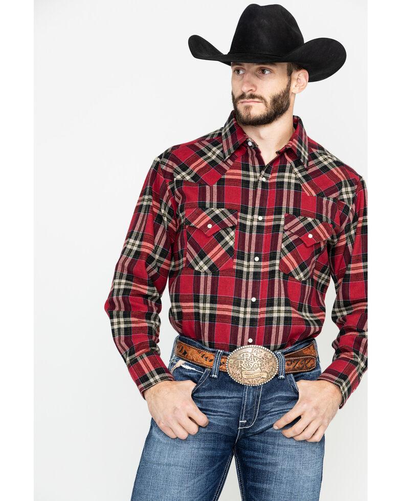 Ely Walker Men's Brawny Flannel Long Sleeve Western Shirt - Big , Red, hi-res