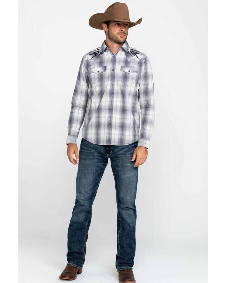 Moonshine Spirit Men's Tomahawk Plaid Embroidered Yoke Long Sleeve Western Shirt , Grey, hi-res