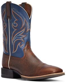 Ariat Men's Sport Knockout Western Boots - Wide Square Toe, Dark Brown, hi-res