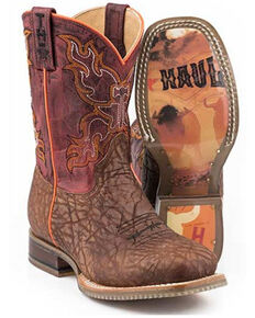 Tin Haul Boys' Wild Bull Western Boots - Square Toe, Tan, hi-res