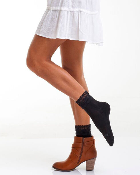 Bootights Women's Lace Trimmed Crew Socks, , hi-res