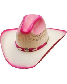 Western Express Girls Hot Pink Straw Cowgirl Hat  772b47292c3