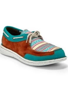 Justin Women's Boatie Turquoise Moc Driving Shoes - Moc Toe, Multi, hi-res
