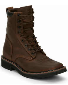 Justin Men's Stampede Lace-Up Work Boots - Soft Toe, Brown, hi-res