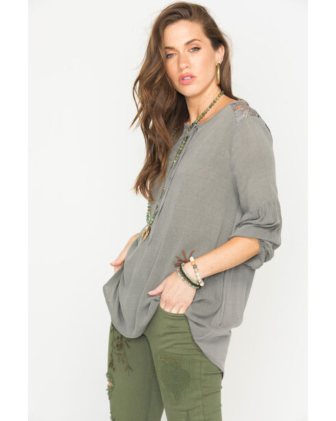 Sage the Label Women's Grey Dylan Blouse , Charcoal, hi-res