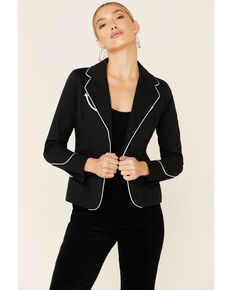 Panhandle Women's Black Rodeo Contrast Piped Long Sleeve Blazer , Black, hi-res