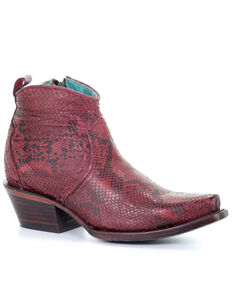 Corral Women's Red Python Fashion Booties - Snip Toe, Red, hi-res