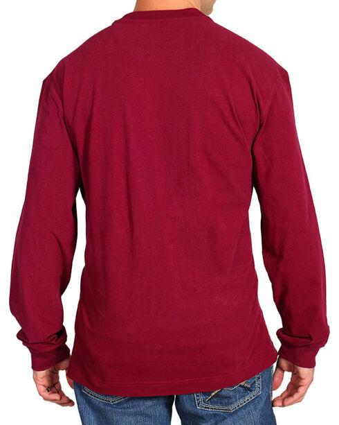 American Worker Men's Red Long Sleeve Henley, Burgundy, hi-res