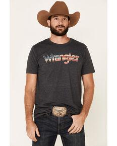 Wrangler Men's Charcoal Flag Logo Graphic T-Shirt , Charcoal, hi-res