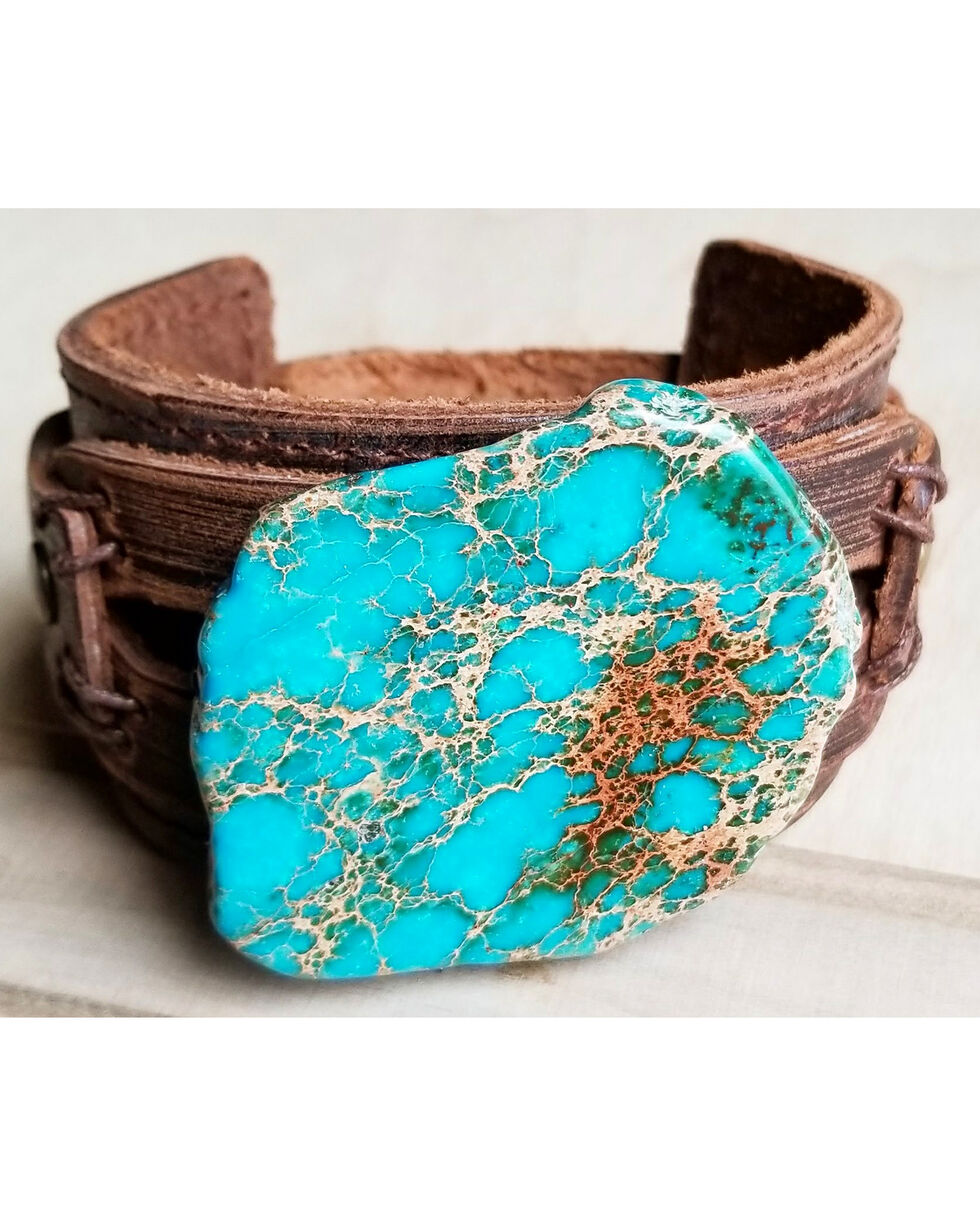 Jewelry Junkie Women's Regalite Leather Wide Cuff , Turquoise, hi-res