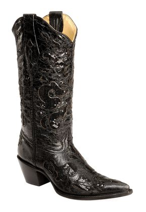 Corral Sequin Inlay Cowgirl Boots - Pointed Toe, Black, hi-res