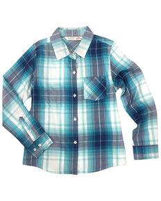 Ely Walker Girls' Teal Plaid Tie Front Long Sleeve Western Shirt , Teal, hi-res