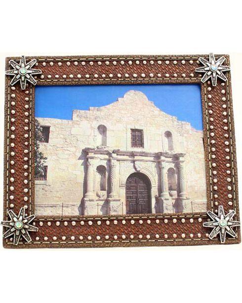 "Western Moments Basketweave Spur Rowel Photo Frame - 8"" x 10"", Brown, hi-res"