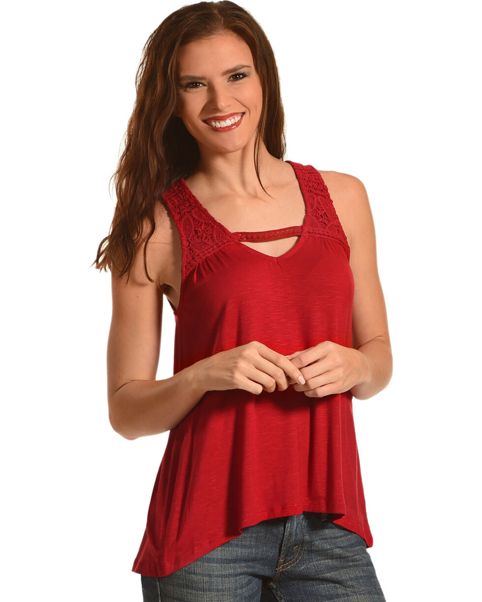 Eyeshadow Women's Crochet Detailed Sleeveless Top, Red, hi-res