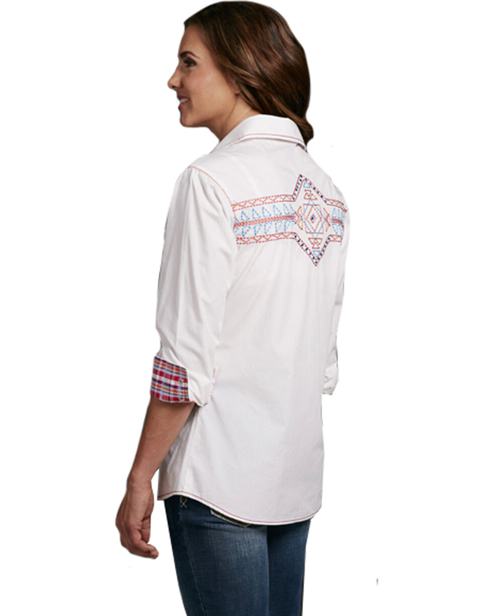 Cowgirl Up Women's White Embroidered Long Sleeve Shirt, White, hi-res