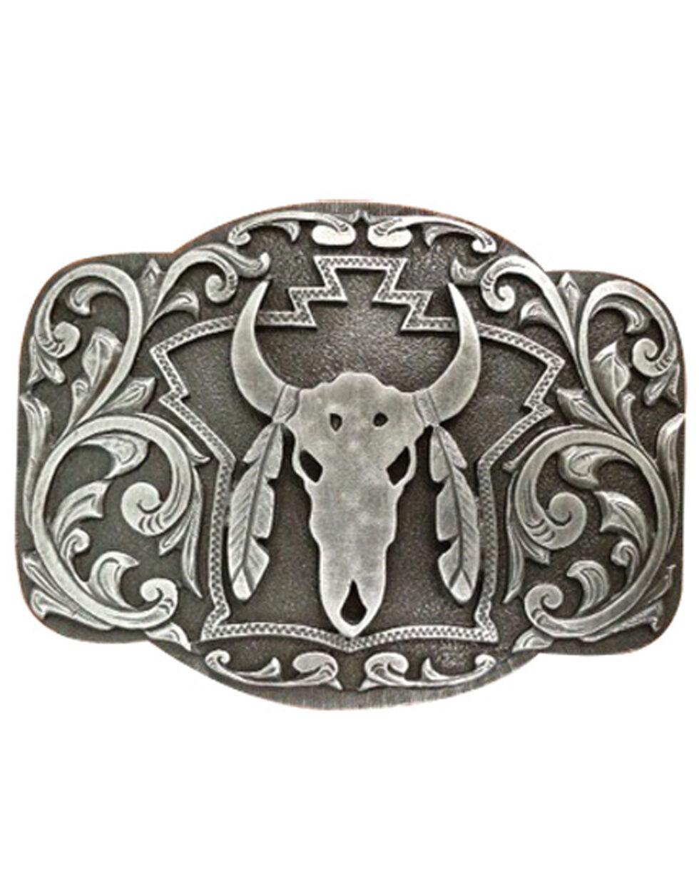 AndWest Men's Longhorn Skull & Feathers Belt Buckle, Silver, hi-res