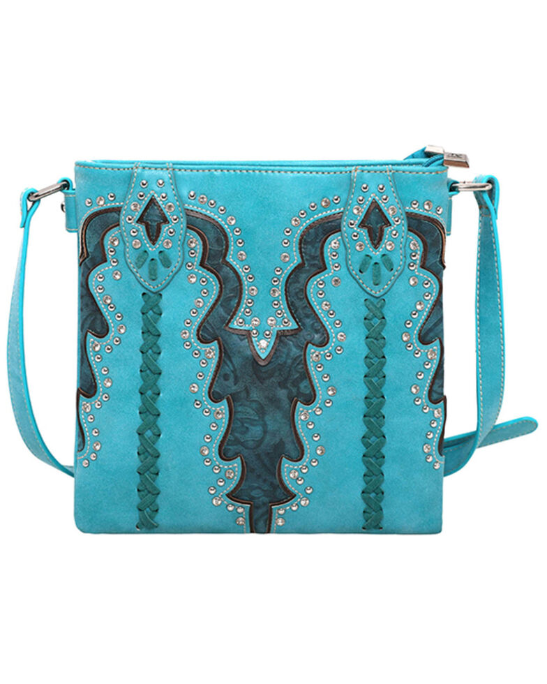 Montana West Women's Boot Scroll Travel Bag, Turquoise, hi-res