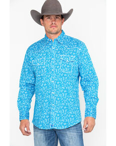 Wrangler 20X Men's Turquoise Paisley Print Advanced Comfort Long Sleeve Western Shirt , Turquoise, hi-res