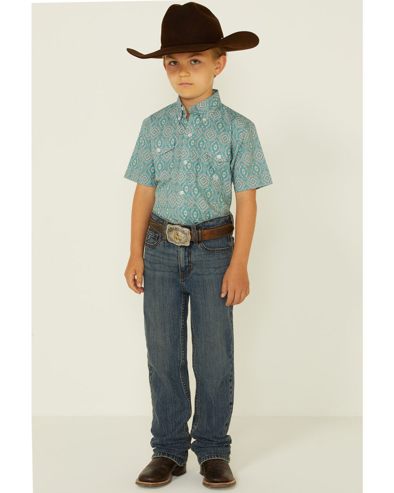 Roper Boys' Jade Quarry Medallion Paisley Print Short Sleeve Snap Western Shirt , Teal, hi-res