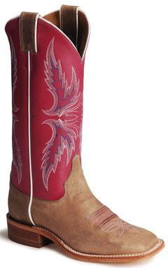 Justin Bent Rail Hot Pink Cowgirl Boots - Square Toe, Tan, hi-res