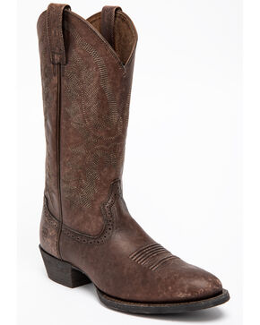 Ariat Men's Brown Heritage Calhoun Western Boots - Pointed Toe , Chocolate, hi-res