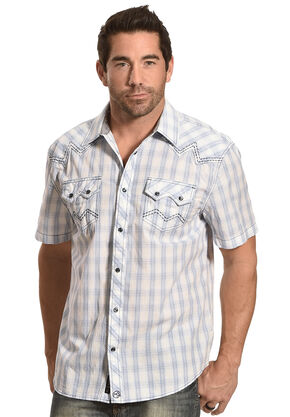 Moonshine Spirit Men's Sonata Creek Plaid Short Sleeve Shirt, White, hi-res