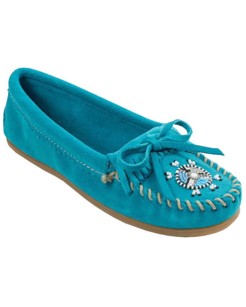 Minnetonka Women's Me To We Moccasins - Moc Toe, Turquoise, hi-res