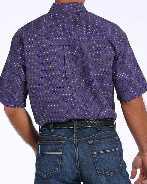 Cinch Men's Purple Printed Plain Weave Short Sleeve Shirt, Purple, hi-res
