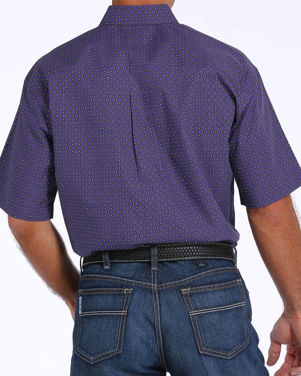 Cinch Men's Purple Printed Plain Weave Short Sleeve Shirt, Purple, hi-res