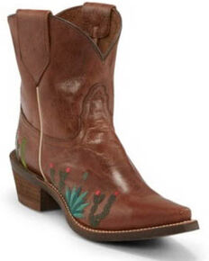 Nocona Women's Agave Brown Western Booties - Snip Toe, Brown, hi-res