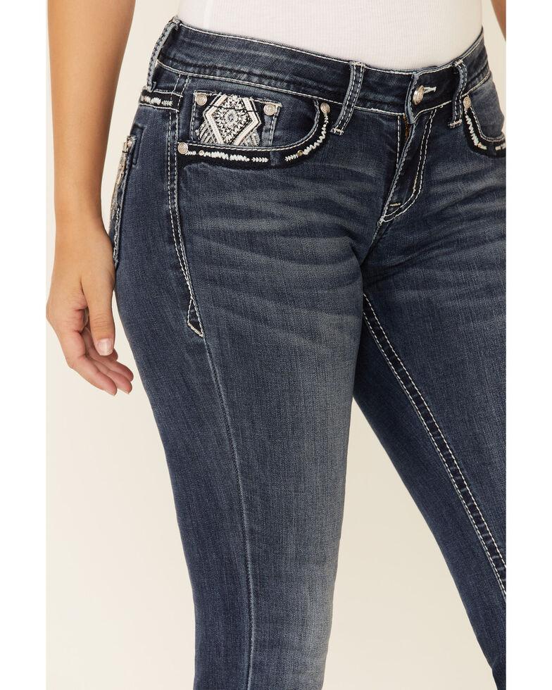 Grace in LA Women's Aztec Diamond Bootcut Jeans, Blue, hi-res