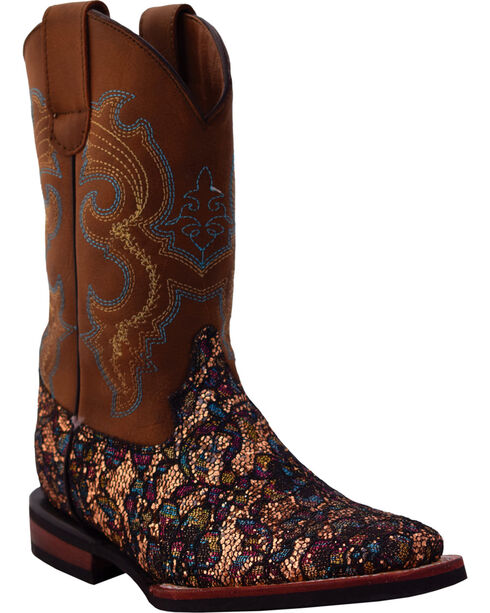 Ferrini Girls' Sparkle Lace Cowgirl Boots - Square Toe, Gold, hi-res