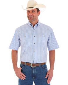 Wrangler Men's Blue Short Sleeve Plaid Shirt , Blue, hi-res
