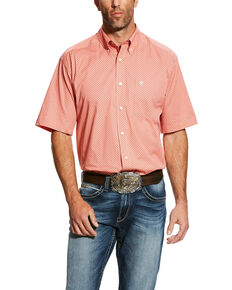 4b3ab154 Ariat Mens Harsley Stretch Geo Print Short Sleeve Western Shirt , Orange,  hi-res