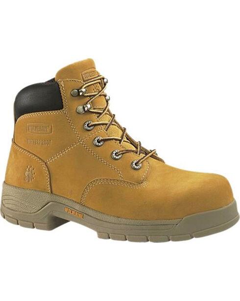 "Wolverine Men's Wheat Harrison 6"" Work Boots - Steel Toe , Wheat, hi-res"
