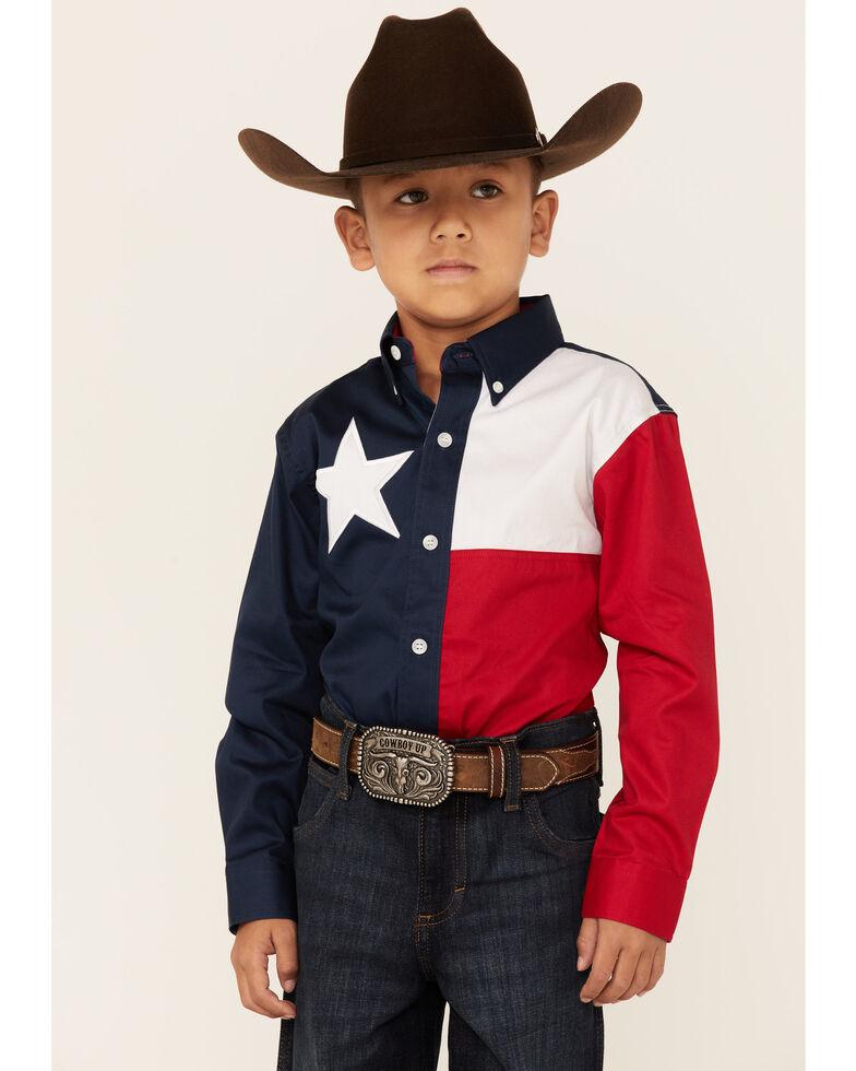 Roper Boys' Red White & Blue Pieced Texas Flag Long Sleeve Snap Western Shirt, Navy, hi-res