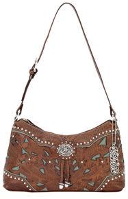 American West Lady Lace Shoulder Bag, Brown, hi-res