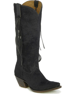 Tony Lama Women's Black Hair On Hide Tassel Cowgirl Boots - Snip Toe, Black, hi-res