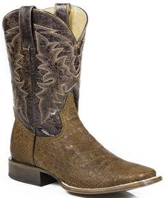 Roper Alligator Print Cowboy Boots - Square Toe, Brown, hi-res