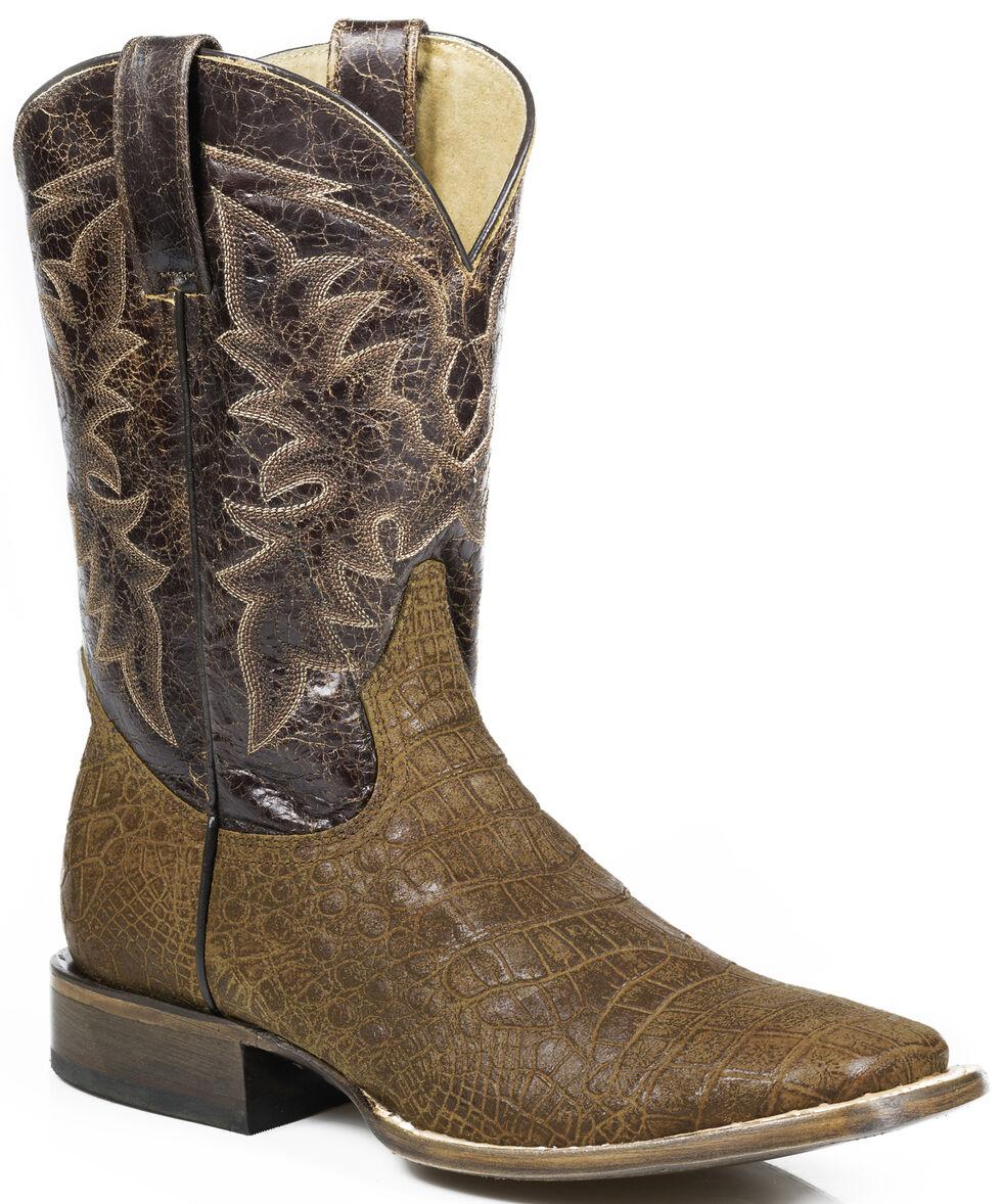 Roper Alligator Print Cowboy Boots - Wide Square Toe, Brown, hi-res