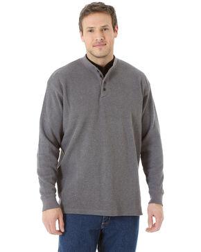 Wrangler Men's Solid Thermal Henley Long Sleeve Work Shirt - Tall , Navy, hi-res