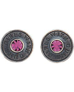 Montana Silversmiths Girls With Guns Shell Earrings, Silver, hi-res