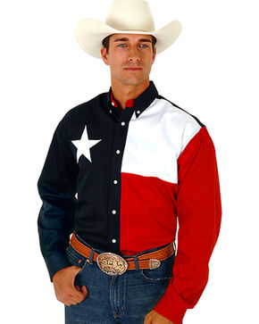 Roper Texas Flag Shirt, Navy, hi-res