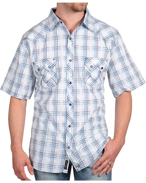 Moonshine Spirit Men's Festival Plaid Short Sleeve Shirt, White, hi-res