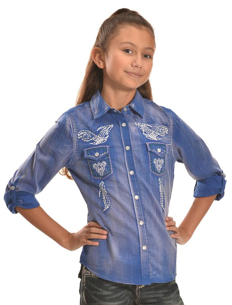 cb6d7a8a40e7d7 Cowgirl Legend Girls  Denim Wash Embroidered Western Shirt